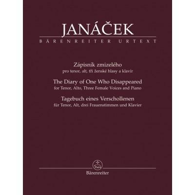 BARENREITER JANACEK LEOS - TAGEBUCH EINES VERSCHOLLENEN FUR TENOR, ALT, DREI FRAUENSTIMMEN UNE KLAVIER
