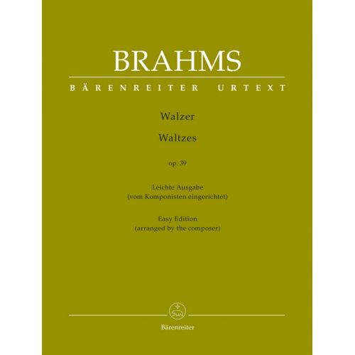BARENREITER BRAHMS JOHANNES - WALZER OP.39 - EASY EDITION ARRANGED BY THE COMPOSER