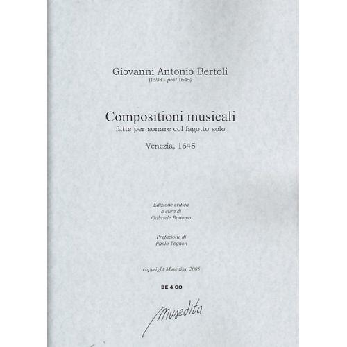 MUSEDITA BERTOLI GIOVANNI ANTONIO - COMPOSIZIONI MUSICALI - BASSON ET BC