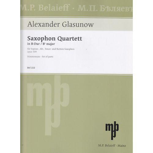 BELAIEFF GLASUNOW A. - SAXOPHON QUARTETT B-DUR OP. 109