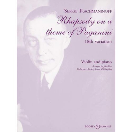 BOOSEY & HAWKES RACHMANINOFF SERGEI WASSILJEWITSCH - RHAPSODY ON A THEME OF PAGANINI - VIOLIN AND PIANO