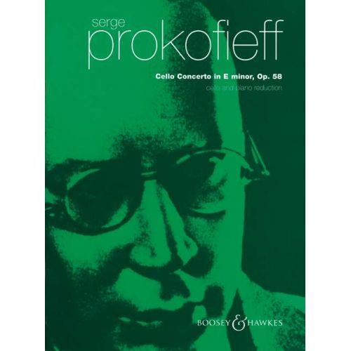 BOOSEY & HAWKES PROKOFIEV S. - CELLO CONCERTO IN E MINOR OP.58 - CELLO AND ORCHESTRA