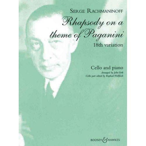BOOSEY & HAWKES RACHMANINOFF S. - RHAPSODIE SUR UN THEME DE PAGANINI OP 43 - VIOLONCELLE ET PIANO