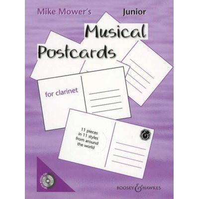 BOOSEY & HAWKES MOWER MIKE - JUNIOR MUSICAL POSTCARDS + CD - CLARINETTE