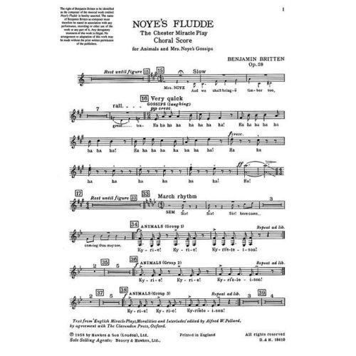 BOOSEY & HAWKES BRITTEN B. - NOYE'S FLUDDE OP. 59 - SOLOISTS , SPEAKERS, CHILDREN'S CHOIR AND INSTRUMENTS