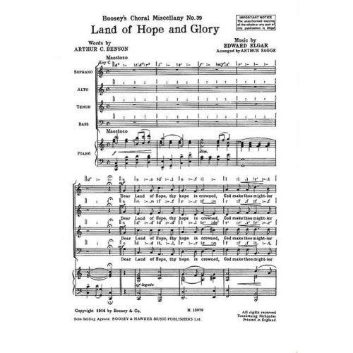 BOOSEY & HAWKES ELGAR EDWARD - LAND OF HOPE AND GLORY - MIXED CHOIR AND PIANO