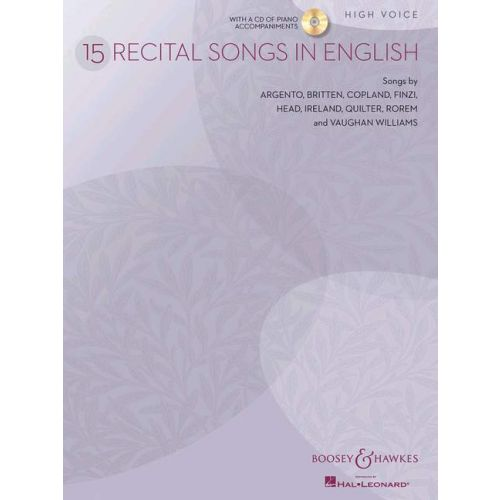 BOOSEY & HAWKES 15 RECITAL SONGS IN ENGLISH + CD - HIGH VOICE AND PIANO