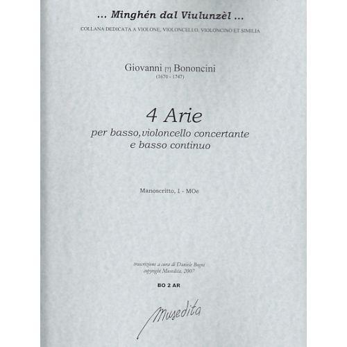 MUSEDITA BONONCINI G. - 4 ARIE - BASSE, VIOLONCELLE ET BC