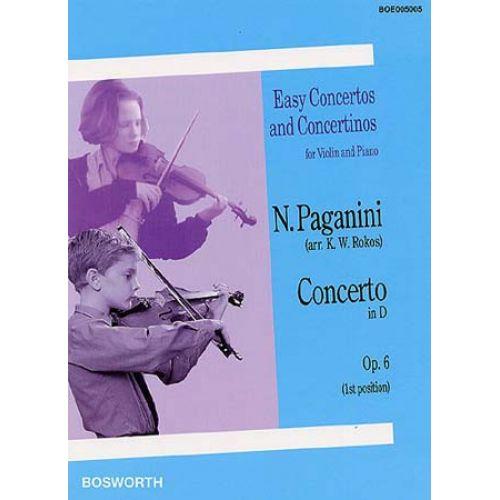 BOSWORTH PAGANINI N. - CONCERTO IN D OP.6 - VIOLON ET PIANO