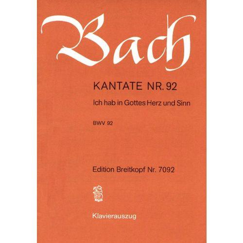 EDITION BREITKOPF BACH J.S. - KANTATE 92 ICH HAB IN GOTTES