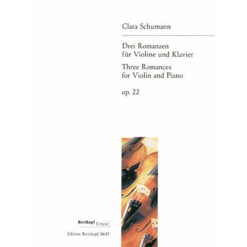 EDITION BREITKOPF SCHUMANN C. - DREI ROMANZEN OP. 22
