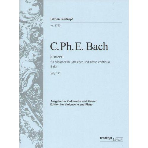 EDITION BREITKOPF BACH C.P.E. - CONCERTO POUR VIOLONCELLE EN LA MINEUR WQ 171 - VIOLONCELLE, PIANO