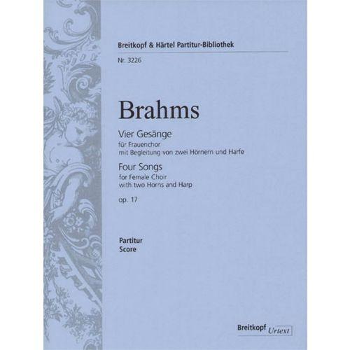 EDITION BREITKOPF BRAHMS J. - VIER GESANGE OP. 17