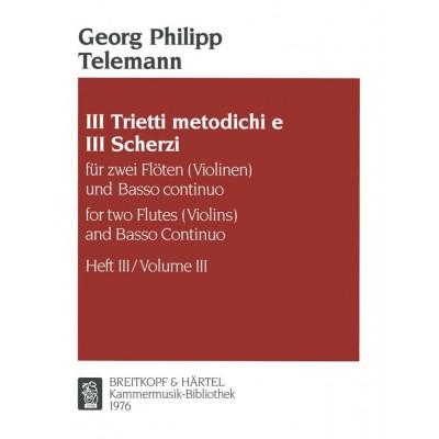 EDITION BREITKOPF TELEMANN GEORG PHILIPP - TRIETTO METODICHO, NR. 3 D-DUR - 2 FLUTE, BASSO CONTINUO
