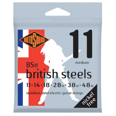 ROTOSOUND BRITISH STEELS STAINLESS STEEL MEDIUM 11 14 18 28 38 48