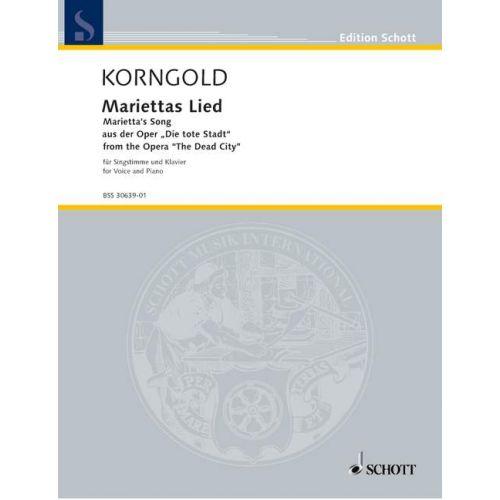 SCHOTT KORNGOLD ERICH WOLFGANG - MARIETTA'S SONG OP. 12 - VOICE PART AND PIANO