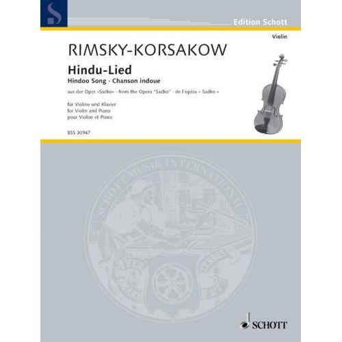 SCHOTT RIMSKY-KORSAKOV N. - HINDU-LIED - VIOLIN AND PIANO