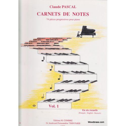 COMBRE PASCAL CLAUDE - CARNETS DE NOTES VOL.1 - PIANO