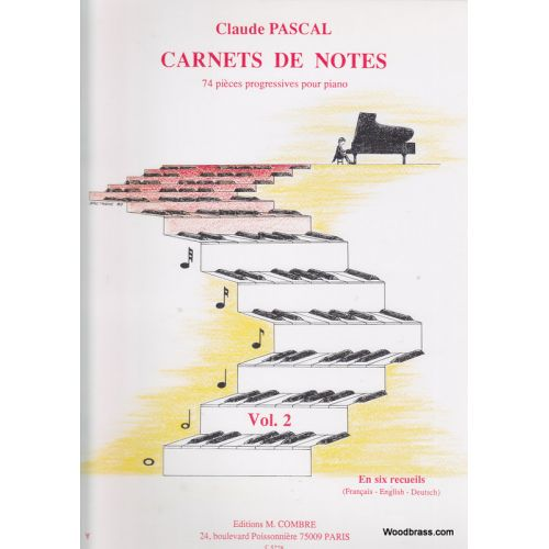 COMBRE PASCAL CLAUDE - CARNETS DE NOTES VOL.2 - PIANO
