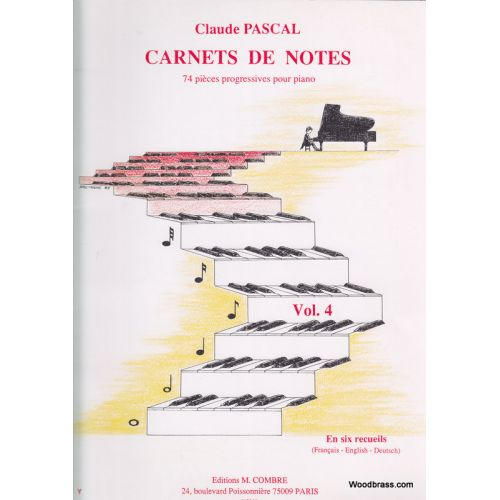 COMBRE PASCAL CLAUDE - CARNETS DE NOTES VOL.4 - PIANO
