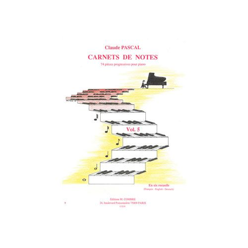 COMBRE PASCAL CLAUDE - CARNETS DE NOTES VOL.5 - PIANO