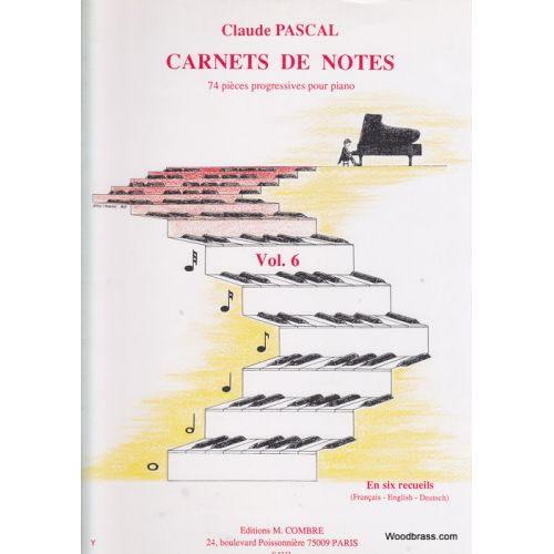 COMBRE PASCAL CLAUDE - CARNETS DE NOTES VOL.6 - PIANO