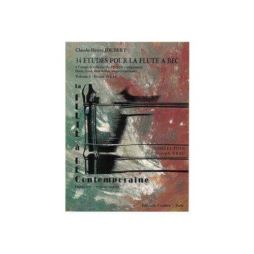 COMBRE JOUBERT CLAUDE-HENRY - ETUDES POUR LA FLUTE A BEC (34) VOL.2 (18 A 34) - FLUTE A BEC