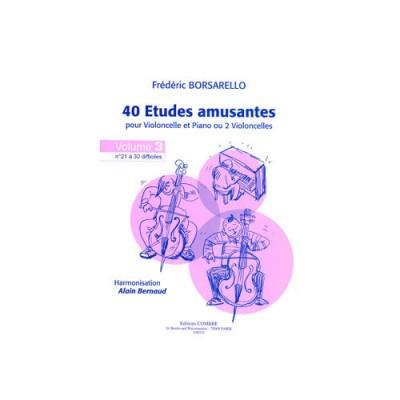 COMBRE BORSARELLO FREDERIC - ETUDES AMUSANTES (40) VOL.3 (21 A 30) - VIOLONCELLE ET PIANO (OU 2 VIOLONCELLE