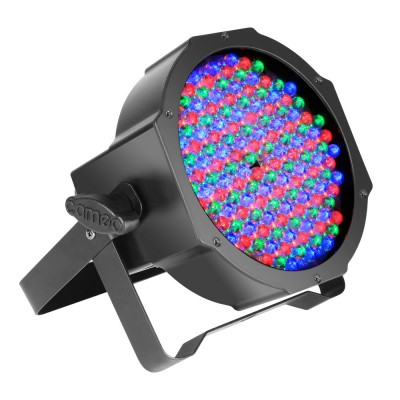 CAMEO 144 X 10 MM FLAT LED RGB PAR SPOT LIGHT IN BLACK HOUSING WITH IR-REMOTE CONTROL CAPABILITY