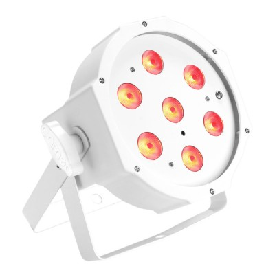 CAMEO 7 X 3 W HIGH POWER TRI COLOUR FLAT LED RGB PAR LIGHT IN WHITE HOUSING