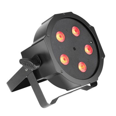 CAMEO 5 X 3 W HIGH POWER TRI COLOUR FLAT LED RGB PAR LIGHT IN BLACK HOUSING WITH IR-REMOTE CONTROL CAPABIL
