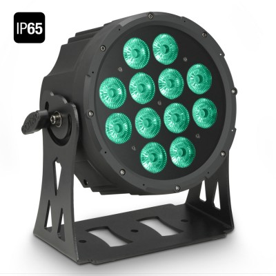 CAMEO 12 X 10 W FLAT LED OUTDOOR RGBWA PAR LIGHT IN BLACK HOUSING