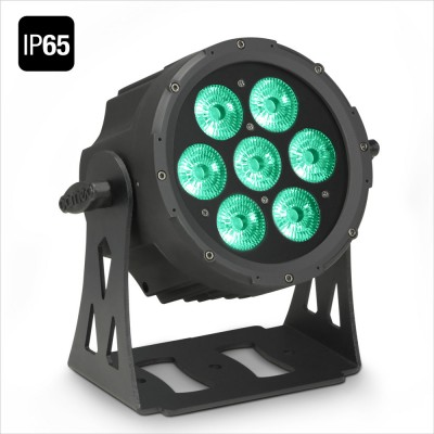 CAMEO 7 X 10 W FLAT LED OUTDOOR RGBWA PAR LIGHT IN BLACK HOUSING