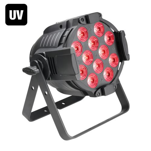 CAMEO 12 X12W QUAD COLOUR LED RGBWA+UV PAR LIGHT IN BLACK HOUSING