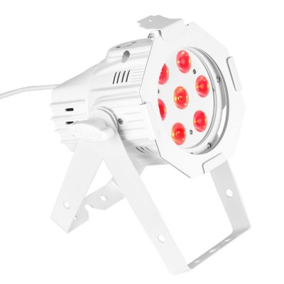 CAMEO 7 X 8 W QUAD COLOUR LED PAR CAN RGBW IN WHITE HOUSING