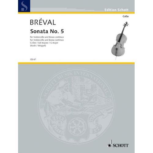 SCHOTT BREVAL JEAN BAPTISTE - SONATA NO. 5 G MAJOR - CELLO AND BASSO CONTINUO
