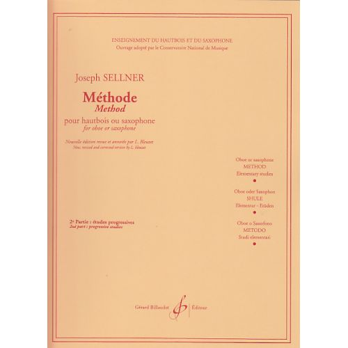 BILLAUDOT SELLNER JOSEPH - METHODE VOL.2 - ETUDES PROGRESSIVES - POUR HAUTBOIS OU SAXOPHONE
