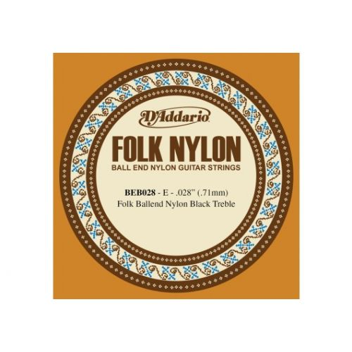 D'ADDARIO AND CO BEB028 FOLK NYLON GUITAR SINGLE STRING BLACK NYLON BALL END .028