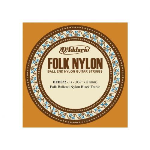 D'ADDARIO AND CO BEB032 FOLK NYLON GUITAR SINGLE STRING BLACK NYLON BALL END .032