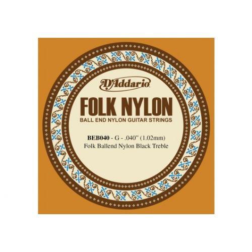 D'ADDARIO AND CO BEB040 FOLK NYLON GUITAR SINGLE STRING BLACK NYLON BALL END .040