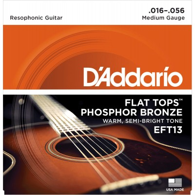 D'ADDARIO AND CO EFT13 FLAT TOP RESOPHONIC 16-56 PHOSPHORE BRONZE