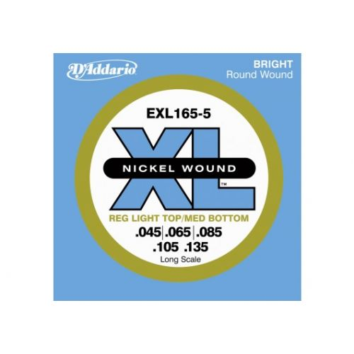 D'ADDARIO AND CO EXL165 5-STRING NICKEL WOUND BASS GUITAR STRINGS CUSTOM LIGHT 45-135 LONG SCALE