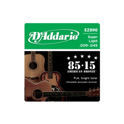 D'ADDARIO AND CO EZ890 AMERICAN BRONZE 85/15 SUPER LIGHT 09-45