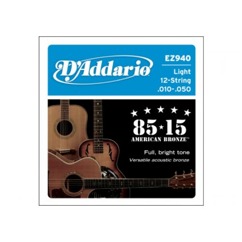 D'ADDARIO AND CO EZ940 AMERICAN BRONZE 85/15 LIGHT 12 STRINGS 10-50