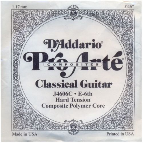 D'ADDARIO AND CO J4606C PRO-ARTE NYLON CLASSICAL GUITAR SINGLE STRING HARD TENSION SIXTH STRING