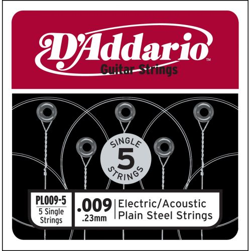 D'ADDARIO AND CO PL009-5 SINGLE 5 PACK SINGLE PLAIN STEEL 009