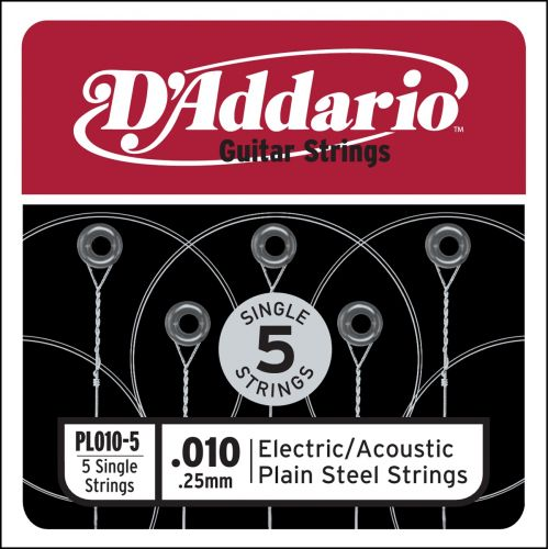 D'ADDARIO AND CO PL010-5 PLAIN STEEL GUITAR SINGLE STRING .010 5-PACK