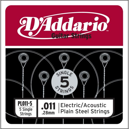 D'ADDARIO AND CO PL011-5 PLAIN STEEL GUITAR SINGLE STRING .011 5-PACK