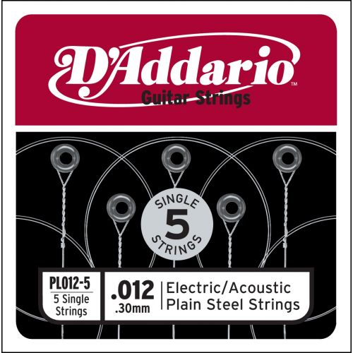 D'ADDARIO AND CO PL012-5 SINGLE 5 PACK SINGLE PLAIN STEEL 012