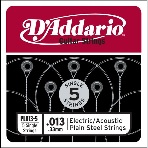 D'ADDARIO AND CO PL013-5 SINGLE 5 PACK SINGLE PLAIN STEEL 013